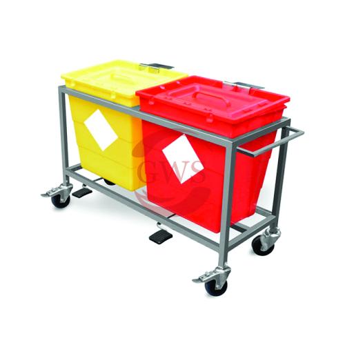 Dual Waste Segregation Trolleys (Stainless Steel) 30 Ltrs
