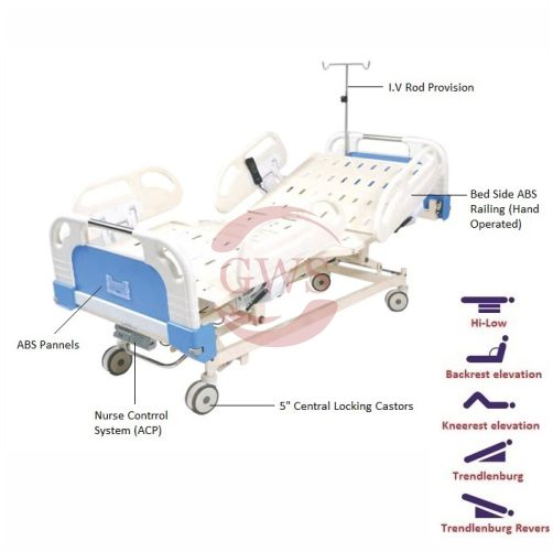 Five Functional ICU Bed Electric (ABS Panel & ABS Side Railing)