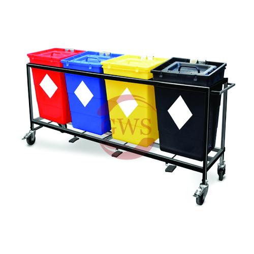 Quadri-Waste Segregation Trolley (Mild Steel) 60 Ltrs