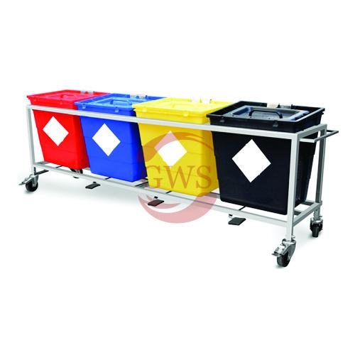 Quadri-Waste Segregation Trolleys (Stainless Steel) 30 Ltrs