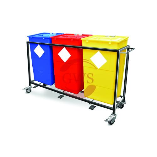 Triple Waste Segregation Trolley (Mild Steel) 60 Ltrs