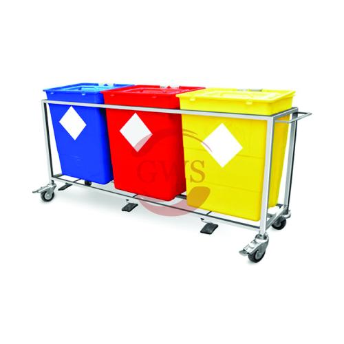 Triple Waste Segregation Trolleys (Stainless Steel) 30 Ltrs