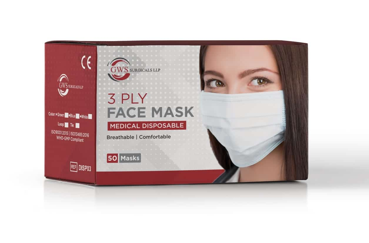3ply Face Mask With Loop Non Woven, Disposable